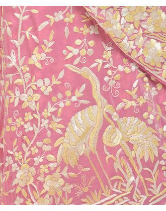 Masterpiece Carnation Pink Hand Embroidered Parsi Gara Saree