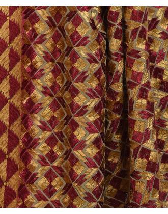 Dark Beige Intricate Phulkari Hand Embroidered Pure Crepe Dupatta