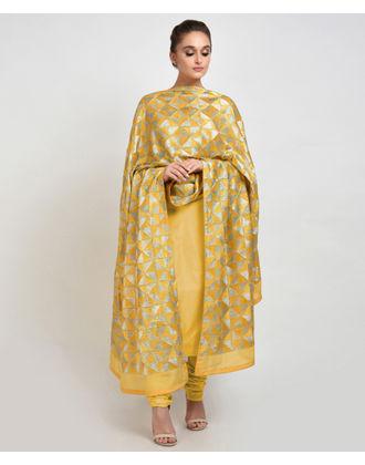 Mango Yellow Intricate Phulkari Hand Embroidered Dupatta with Suit