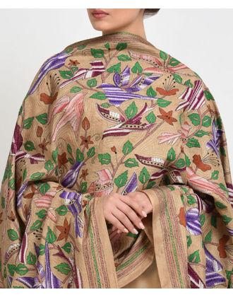 Dark Beige Multi-Colour Hand Embroidered Kantha Pure Silk Dupatta