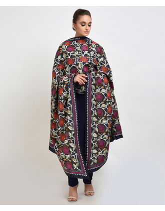 Midnight Blue Multi-Colour Hand Embroidered Kantha Dupatta with Suit