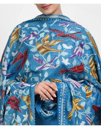 Dark Turquoise Multi-Colour Hand Embroidered Kantha Pure Silk Dupatta
