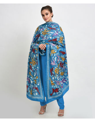 Dark Turquoise Multi-Colour Hand Embroidered Kantha Dupatta with Suit