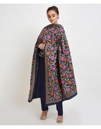 Navy Blue Multi-Colour Hand Embroidered Kantha Pure Silk Dupatta