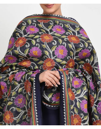 Navy Blue Multi-Colour Hand Embroidered Kantha Dupatta with Suit