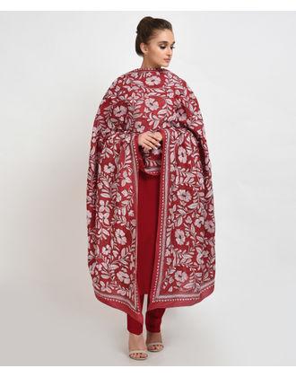 Red Hand Embroidered Kantha Pure Silk Dupatta