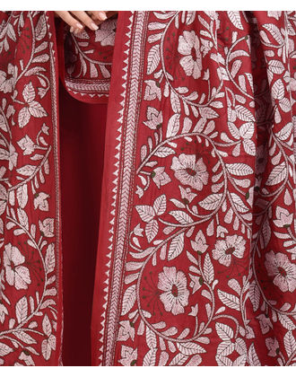 Red Hand Embroidered Kantha Dupatta with Suit