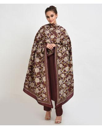 Maroon Multi-Colour Hand Embroidered Kantha Pure Silk Dupatta