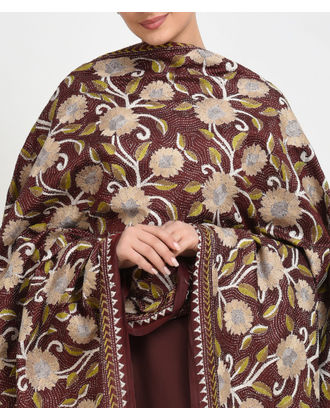 Maroon Multi-Colour Hand Embroidered Kantha Dupatta with Suit