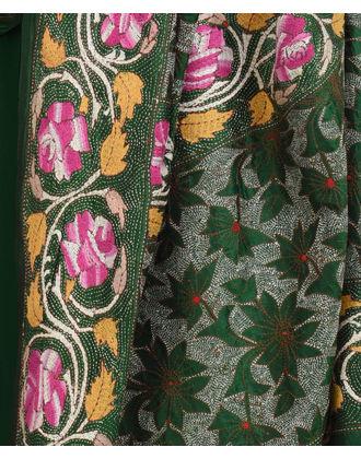 Dark Green Multi-Colour Hand Embroidered Kantha Pure Silk Dupatta