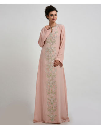 d2ed03a265 Nude Pink Pearl Beads Zardozi   Zari Embroidered Pure Crepe Silk Gown ...