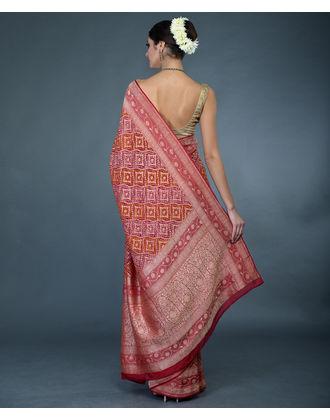 b23d7557967f42 ... Reddish Maroon Banarasi Zari Bandhej Pure Georgette Saree
