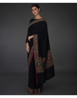 44f2e75811be82 Black Kashmiri Kashidakari Hand Embroidered Pure Pashmina Saree ...