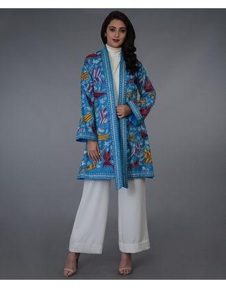 Dark Turquoise Hand Embroidered Kantha Kimono Pure Silk Jacket ... 8a8f2de3e