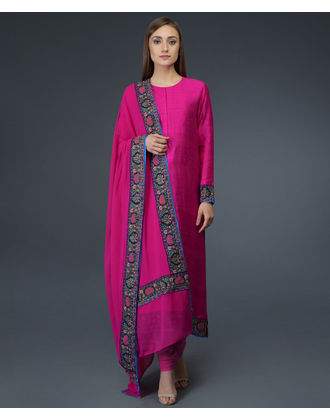602f8cc4f2 Hot Pink Kashmiri Kashidakari Hand Embroidered Pure Raw Silk Suit ...