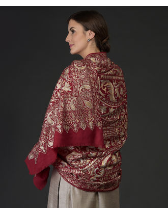 f0669e067a34 ... Heirloom Masterpiece Jamawar Tilla Hand Embroidered Pure Pashmina