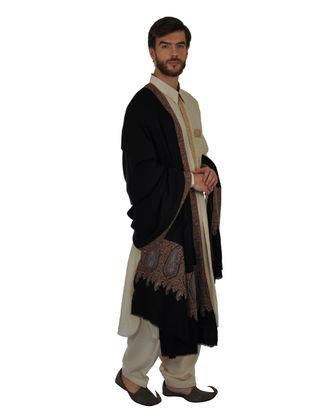 Black Pure Kashmir Pashmina Sozni Hand Embroidered Men's Shawl