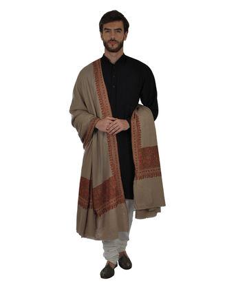 Natural Pure Kashmir Pashmina Sozni Hand Embroidered Men's Shawl
