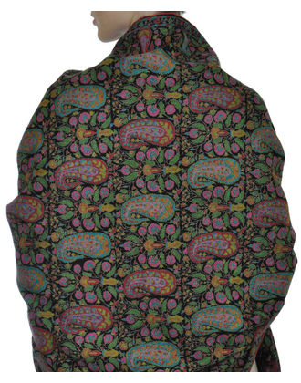 Black Jamawar Papier Mache Hand Embroidered Pure Pashmina Shawl