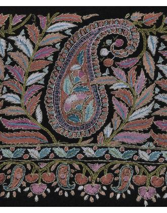 Black Papier Mache Jamawar Hand Embroidered Pure Pashmina Shawl