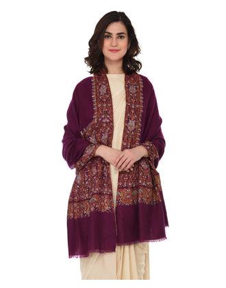 Dark Magenta Pure Kashmir Pashmina Sozni Hand Embroidered Shawl