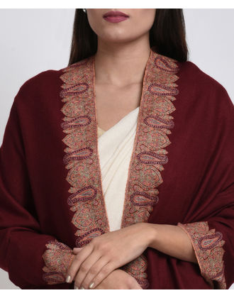 Maroon Pure Kashmir Pashmina Sozni Hand Embroidered Shawl