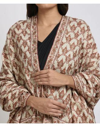 Ivory Sozni Hand Embroidered Jamawar Pure Pashmina Shawl