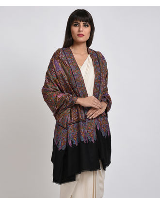 Black Papier Mache Hand Embroidered Jamawar Pure Pashmina Shawl