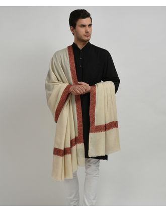 Ivory Pure Pashmina Sozni Hand Embroidered Men's Shawl