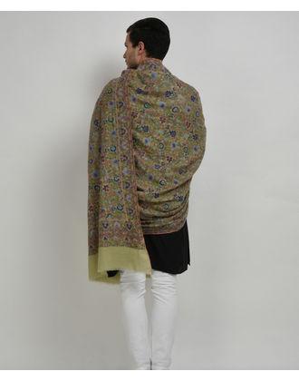 Pista Green Pure Pashmina Jamawar Hand Embroidered Men's Shawl