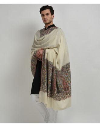 Ivory Kalamkari and Sozni Outline Embroidery Pure Pashmina Men's Shawl