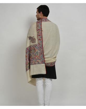 Ivory Pure Pashmina Antique Jama Hand Embroidered Men's Shawl