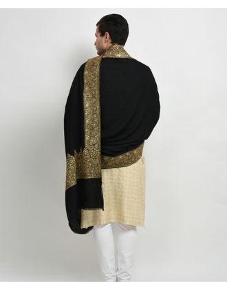 Black Pure Pashmina Antique Gold Tilla Embroidered Men's Shawl