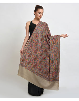 Natural Papier Mache Hand Embroidered Pure Pashmina Shawl