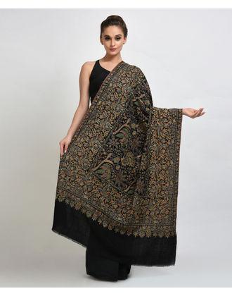 Black Papier Mache Hand Embroidered Pure Pashmina Shawl