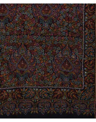 Black Sozni Hand Embroidered Jamawar Pure Pashmina Shawl