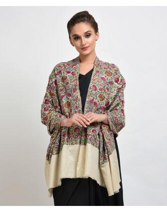 Ivory Papier Mache Hand Embroidered Pure Pashmina Shawl