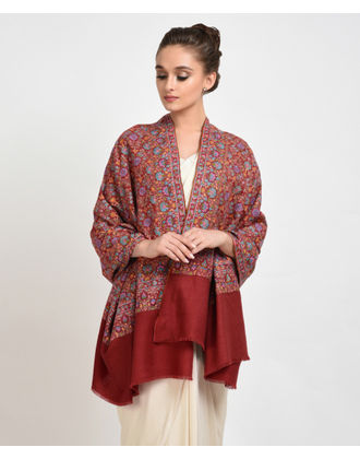 Rusty Red Papier Mache Hand Embroidered Pure Pashmina Shawl