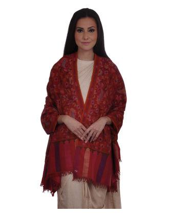 Red Pure Kashmir Pashmina Kani Jamawar Weave Shawl