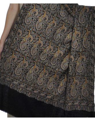 Masterpiece  Sozni Silk Thread Hand Embroidered Paisley Jamawar Pure Pashmina