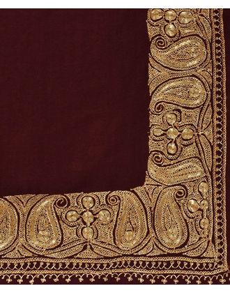 Maroon Pure Pashmina Gold Tilla Hand Embroidered Shawl