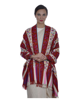 Red and Ivory Striped Pure Kashmir Pashmina Kani Jamawar Shawl