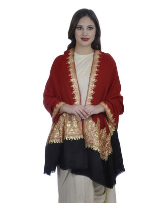 Red and Black Pure Pashmina Tilla Hand Embroidered Shawl