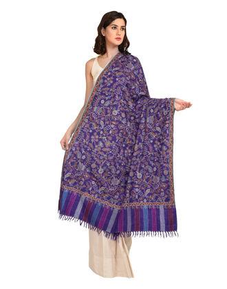 Purple Pure Pashmina Kani Jamawar With Sozni Outline Shawl