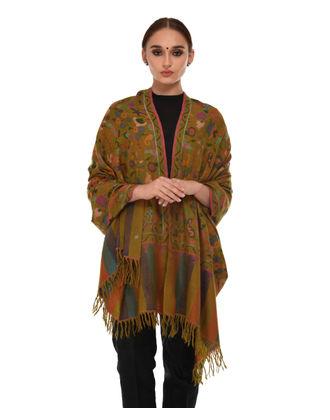 Deep Mustard Pure Kashmir Pashmina Kani Jamawar Weave Shawl