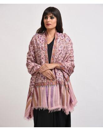 Pastel Pink Pure Pashmina Kani Jamawar With Sozni Outline Shawl