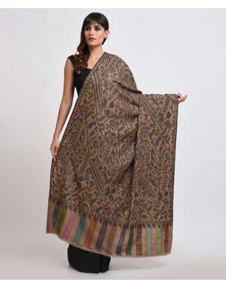 Mocha Beige Pure Pashmina Kani Jamawar With Sozni Outline Shawl