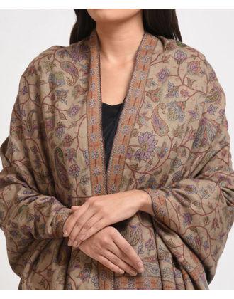 Beige Pure Pashmina Kani Jamawar With Sozni Outline Shawl