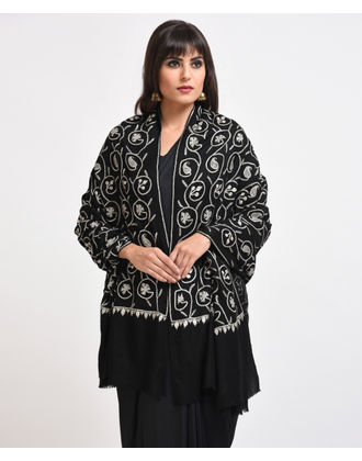 Black Pure Pashmina Silver Tilla Hand Embroidered Shawl