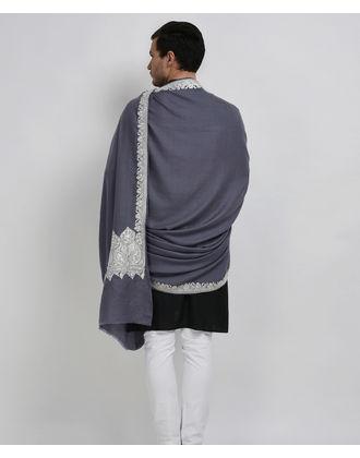 Steel Grey Pure Pashmina Tilla Hand Embroidered Men's Shawl